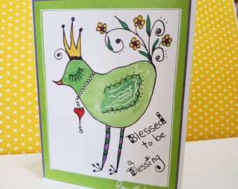 """Blank Artist Note Cards /""""Blessed to be a Blessing'  by Artist Pam Blohm/  set of 5, with envelopes./ printed in the USA"""