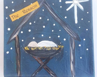 "Christmas decor/6x6 original acrylic painting ""The Reason""/ handpainted canvas decorative wall hanging. Faith artwork"