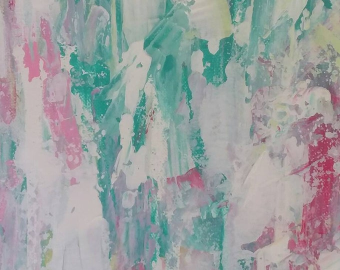 "Original ""LOVE ""  Acrylic Painting /Pallette Knife Art/  18x24  Pastel Abstract /Nursery art/Wall art/ Home decor/MODERN ART"