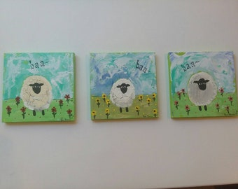 Counting sheep nursery decor. 3 country sheep in field of flowers is original acrylic. 5x5 each.free shipping.