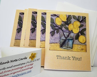 """Lemon Branch   """"Thank You""""  Note Cards /  set of 5 / Printed in the USA / Shipping included"""