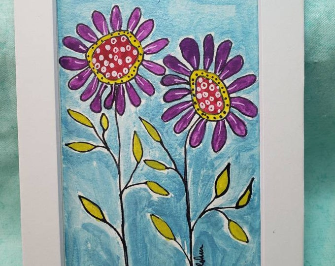 "Watercolor and Ink "" Garden Glory "" original painting / Whimsical Flower art/Matted to 5x7"