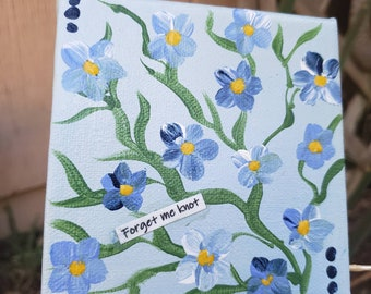 "Small canvas ""Forget me Knots"" acrylic painting/ 4x4 flower art gift idea / floral painting."
