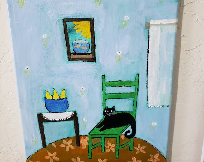 "Original acrylic "" Cat on Green Chair ""  / 12x16 Wall Art/Black Cat art/ home decor/ Kitty Cat painting"