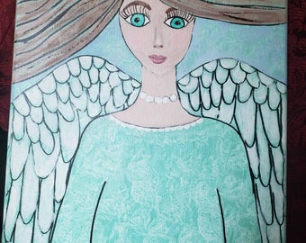 "Original acrylic  angel painting  ""Pearl"" with inspirational words/ 12x16 unframed stretched canvas artwork/ Nursery or Home Decor"