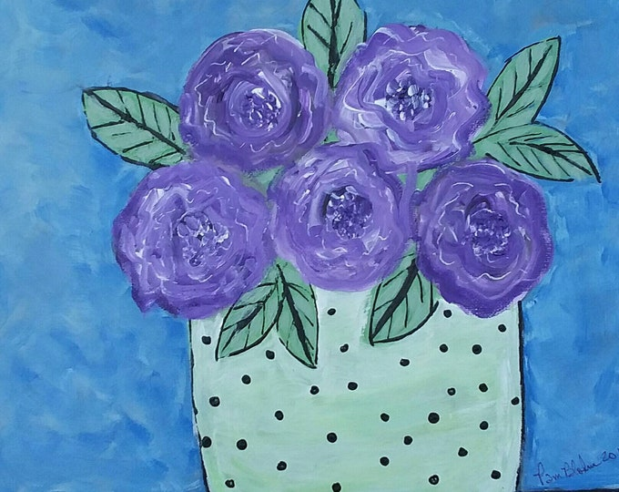 """Original """" Polka Dots and Purple"""" Abstract Floral Painting / 12×12 wall art/nursery decor/ flower art"""