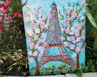 "Eiffel Tower art ""Springtime in Paris ""  French inspiration Home Decor Wall art / 14x18 wood canvas /Nursery Bedroom art/ Original acrylic"