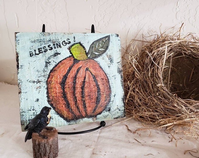 """Folk art Pumpkin """"Blessings"""" /original acrylic painting on rustic wood/ Thanksgiving country decor / Fall shelf art for home or office"""