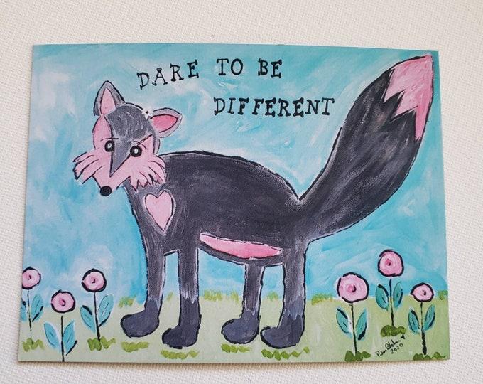 "Art MAGNET ""Dare to be Different""  FOX art / small art  kitchen decor /Fridge magnet/ LBGTQ gift idea"