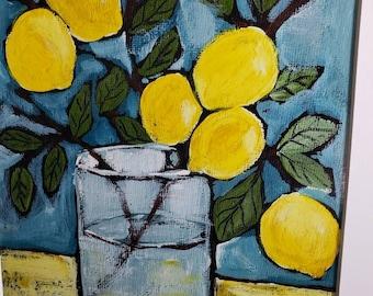 "Artist PRINT ""6 Lemons"" from Pam Blohm original painting / 10x10 Lemon Branch art/kitchen decor"