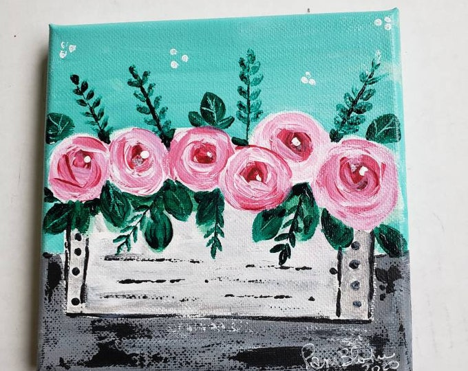 "Original acrylic floral artwork/ ""The Pink Flowers Box"" /6x6 small art home decor"