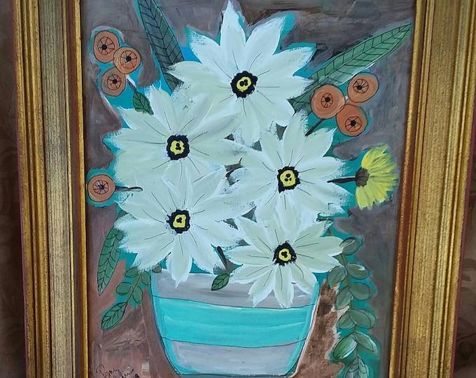 "Abstract ""Southwest Blooms"" / Original  Acrylic Painting /  gold framed 8x10  Farmhouse decor/farmhouse art/Southwest art/Ranch house Decor"