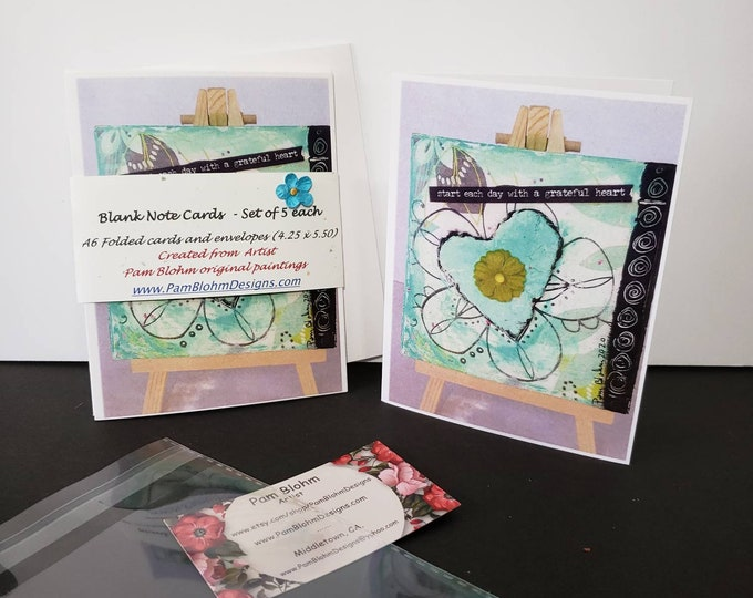 """Artist blank note cards """" Start  each day with a Grateful Heart"""" /  mixed media art by Pam Blohm / Printed  in the USA"""