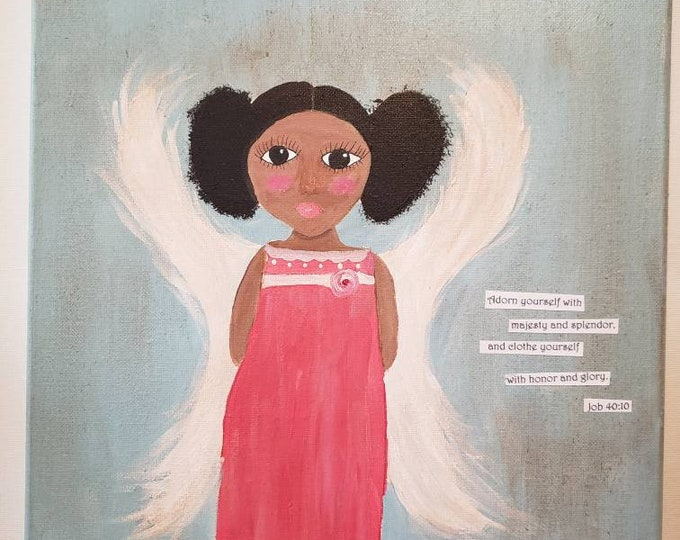 "Folk art ""Angel in Pink"" / Job 40:10 Bible Verse /Original Acrylic Painting/12×12 Wall art / Dark Skin Angel"