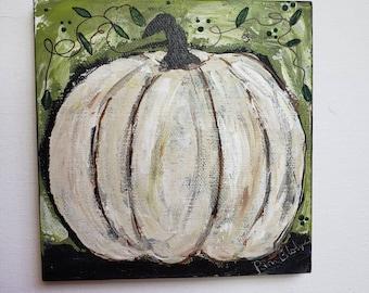 White Pumpkin Small art / Original acrylic painting/ 5x5 Tier Tray decor/ home - office holiday decor