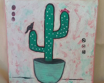 "The ""Cactus Bird"" is a original abstract home accent painting. 12x12 acrylic wall art/kitchen decor/bedroom art/bathroom decor/desert art."