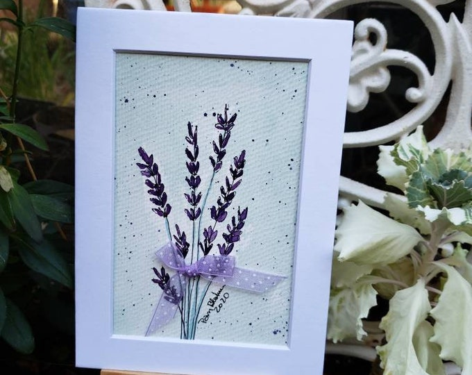 """Original watercolor & ink """"Lovely Lavender"""" . 5x7 white matted wall art/home decor/Lavender plant art/ flower art/ floral painting."""