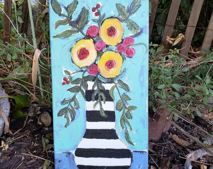 """Abstract original floral painting """"It's a Carnival """" /  Acrylic  Wall art flower painting / 7x14 Bedroom decor/Nursery art"""