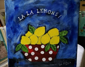 "Kitchen Original art  "" La La Lemons ! "" Bowl of Yellow Fruit /Polka Dot Bowl /kitchen art/Fruit Still Life/Original acrylic painting/12×12"