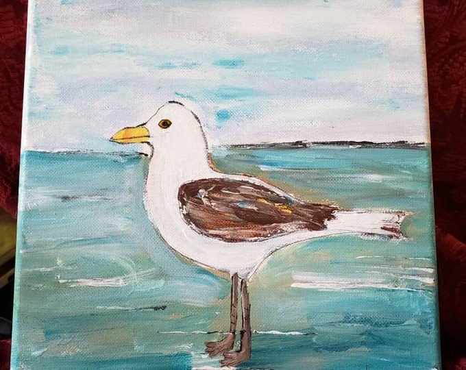 "Original acrylic painting ""Seagull on the Beach"" /9×12 wall art / Sealife art /home decor/home art / bird painting /abstract art ."