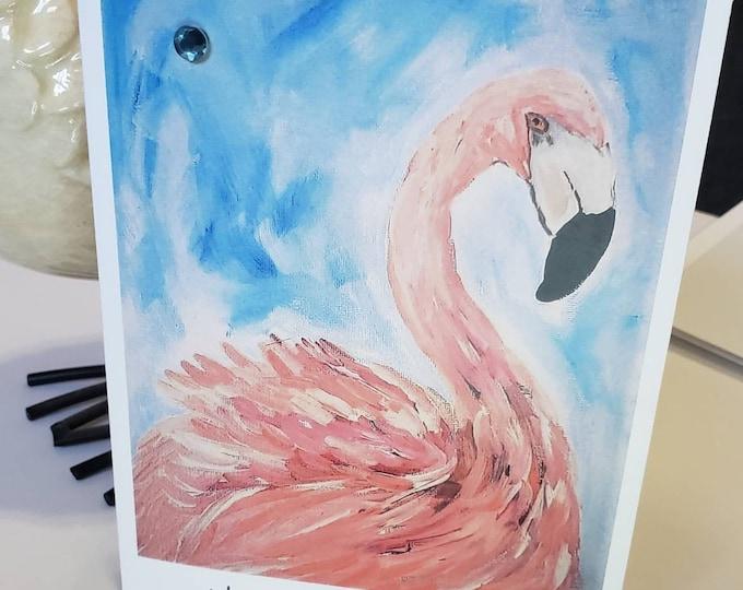 "Blank Flamingo art greeting card /5x7 ""Happy Birthday""  /including blue rhinestone bling, self stick envelope, &shipping"