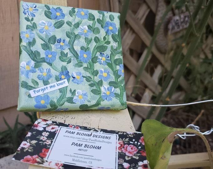 "Forget me knot ""tiny blue flowers"" original acrylic painting/4x4 small artwork/gift idea shelf art"