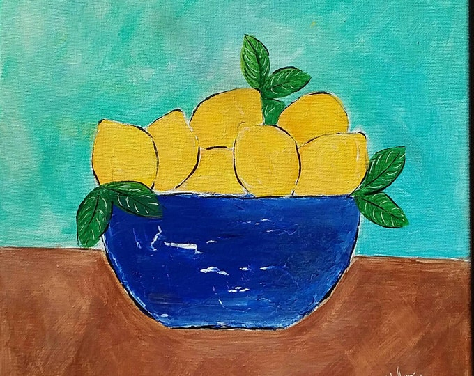 "Modern Art ""Blue Bowl of Lemons "" home decor/office art/ Fruit kitchen art- Original acrylic painting Abstract 12x12"