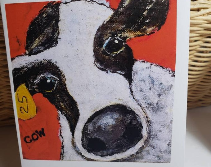 """Artist Note Card set """"Cow 25 Hello """"/ gift set of 5 blank note cards with self adhesive envelopes included"""