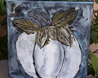 "Original "" Winter Pumpkin""  Acrylic painting / 6x6 Shelf art/ Fall decor/Thanksgiving accent/ Holiday gift"