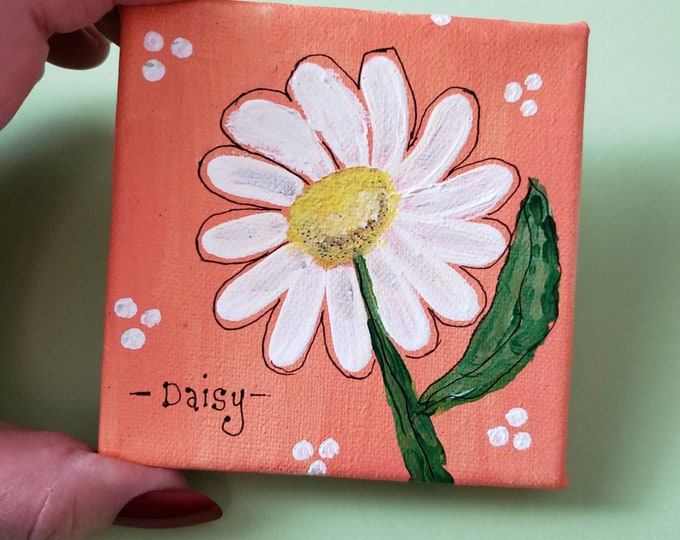 "Small art painting / 4x4 ""Daisy"" original artwork/ Home decor/ Gift idea/ Garden lover/ Birthday Fun"