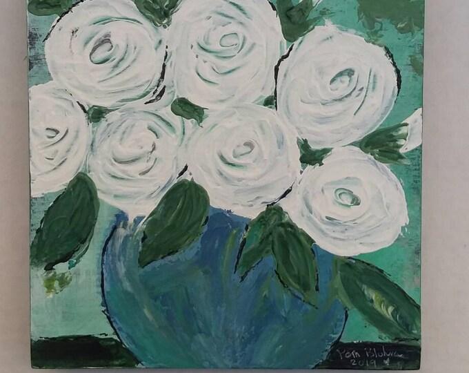 "Original acrylic painting "" Linen Mist"" Wall Art/ 6x6 Birchwood Canvas/home art/bedroom art/bathroom art/gift idea"