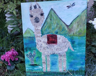 "Original  ""Dexter the Llama"" /  acrylic painting/ 16x20 Nursery or Childs room art/ Farmhouse Art/ Whimsical Fun Art"