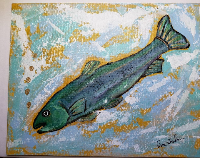 """Abstract Fish artwork  """"Gone Fishing"""" / 8x10 Original acrylic painting on Artist Canvas Panel"""