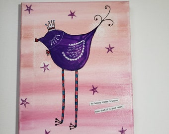 "Whimsy painting / ""Purple Princess"" tall bird fun  / 8x10 original acrylic and ink/ Wall art"