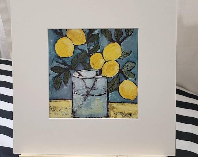 "Artist Original Photo Paper Print / 6x6 white matted to 10x10 / Original Lemon Branch  Artwork  "" Showing Off "" / Kitchen Decor / Fruit art"