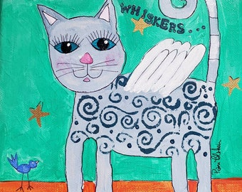 """Whimsical Grey  Cat Angel / Original Acrylic Painting / 8x10 Kitty Wall art / Angel art """" Wings and Whiskers """" / Pet Loss Memorial Gift"""