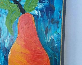 "Abstract acrylic Pear ""Inspired Delight"" original painting  Kitchen art/restaraut art/food art/Abstract Pear/ Fruit art/ abstract original"