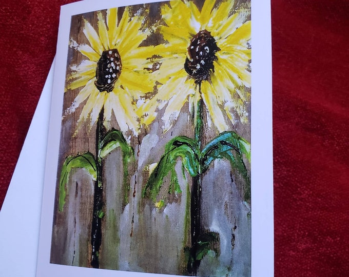 Artist blank Note Card set / Sunflower art gift set of 5 , includes self adhesive envelopes