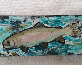 "Colorful abstract acrylic "" Trout Fish"" painting on wood.  4x10. Man Room art/Fly Fishing/Boys room/Nursery art/River fishing/Outdoors"