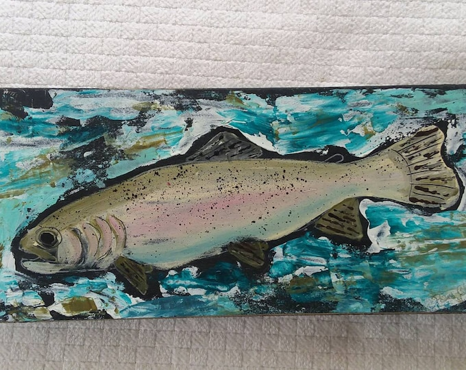 """Colorful abstract acrylic """" Trout Fish"""" painting on wood.  4x10. Man Room art/Fly Fishing/Boys room/Nursery art/River fishing/Outdoors"""