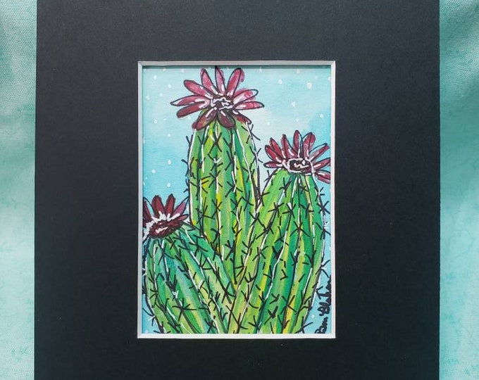 "Watercolor and ink ""Bloomin Cactus"" original painting /small art painting  /matted to 5x7/ Desert Flower art"
