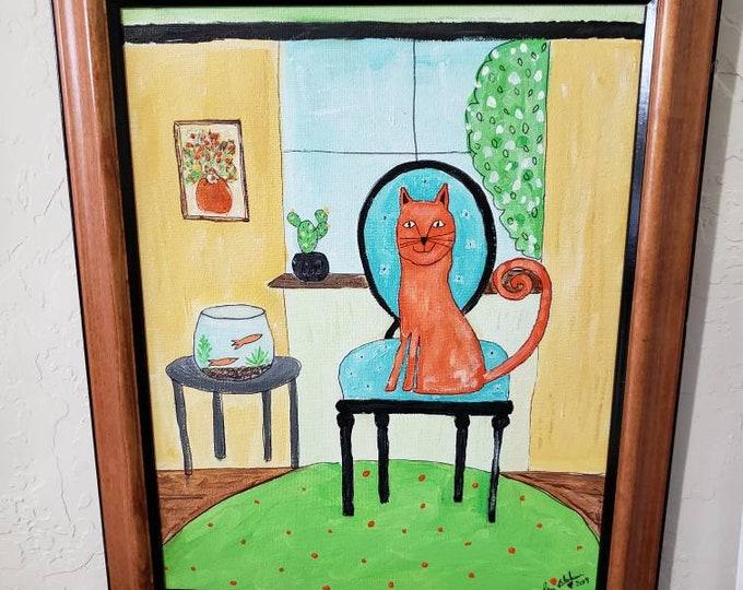 "Framed ""Orange Cat on Chair""  / Original  Acrylic Painting /  11x14 Wall Art/ Cat Home Decor/ Cat Lover Gift idea."