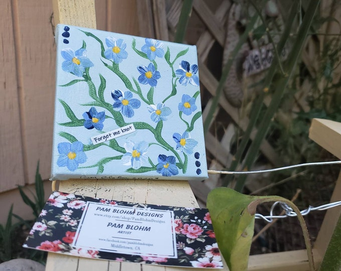 """Small canvas """"Forget me Knots"""" acrylic painting/ 4x4 flower art gift idea / floral painting."""