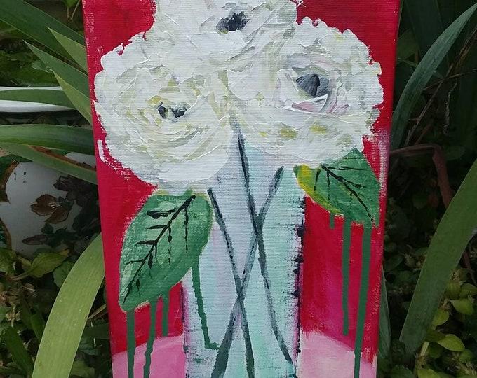 "Abstract Floral  ""Midori"" Original acrylic painting. 7x14 / home decor/bedroom art/nursery decor/bathroom art/free shipping"