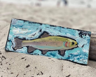 "Abstract ""Brook Fish""  /  4x10 "" original acrylic painting on wood / Trout art /Fathers day/Man room/Fishing art/Father's Day/gift idea"