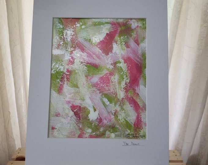 "Original Acrylic Abstract Painting / 11x14 White Matted ""The Dance"" / Wall Art/Home decor/Office art/Nursery Decor/ Pink and Green"