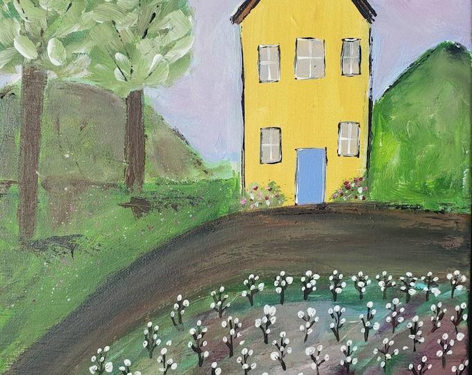 "Original acrylic ""The Yellow House on the Hill""  Cottonfield painting/12x16 wall art / Folk Art home decor /farmhouse decor /Primitive art"