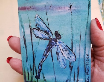 """Artist MAGNET """"Blue Dragonfly """" from original painting /3.25x 4.5 Small art gift idea/ Nature Lover art"""