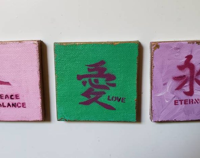 3 piece Fridge magnet set/ Chinese symbols for Love,  Energy,  Peace and Balance / Handmade items /Gift idea