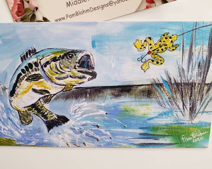 """Art MAGNET """"Large Mouth Bass"""" / Fisherman gift idea /man or boy stocking stuffer /strong hold magnet made in USA / Fishing small art"""